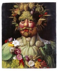 Målning av  Rudolph II som Vertumnus, årstidernas och växtlighetens gud. Guiseppe Arcimboldo. 1590. Skokloster slott.