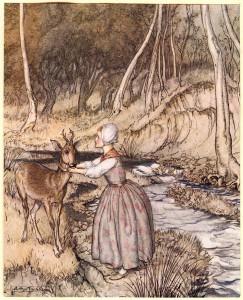 Arthur Rackham (1867-1939). Illustration till en saga av Bröderna Grimm.
