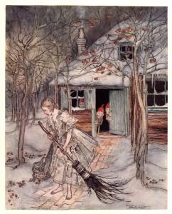 """Arthur Rackham (1867-1939). Illustration till sagan """"De små männen i skogen"""" av Bröderna Grimm."""